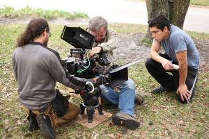 L to R: Maurice Vega, 1AC; Michael Minock and Nilo Leon 2AC in San Marco, FL lensing Don't Look Away.