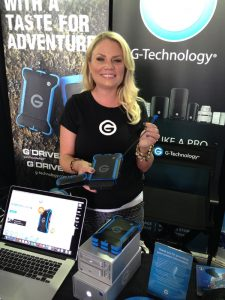 G-Tech's Aimee Davos with G-Drive ev ATC drives.
