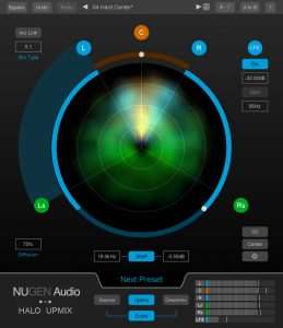 NUGEN Audio Halo Upmix - 5_1 main view - using colour to determine energy source