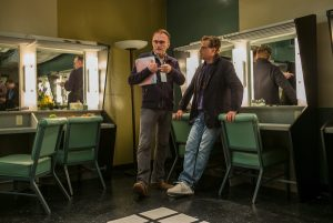 Danny Boyle and screenwriter Aaron Sorkin on set.