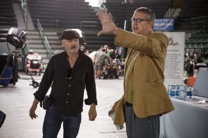 Cinematographer Barry Ackroyd and director Adam McKay.