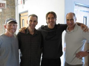 L-R: Ron Howard, Dan Hanley, basketball's Steve Nash and Mike Hill, who worked together on Iconoclasts.
