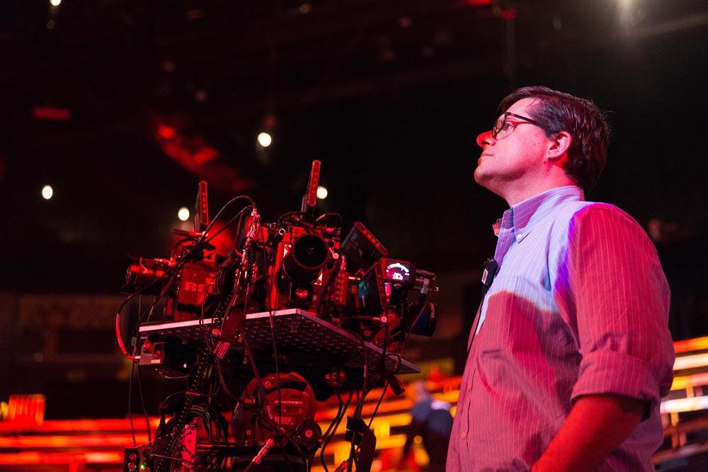Lucas Wilson on set.